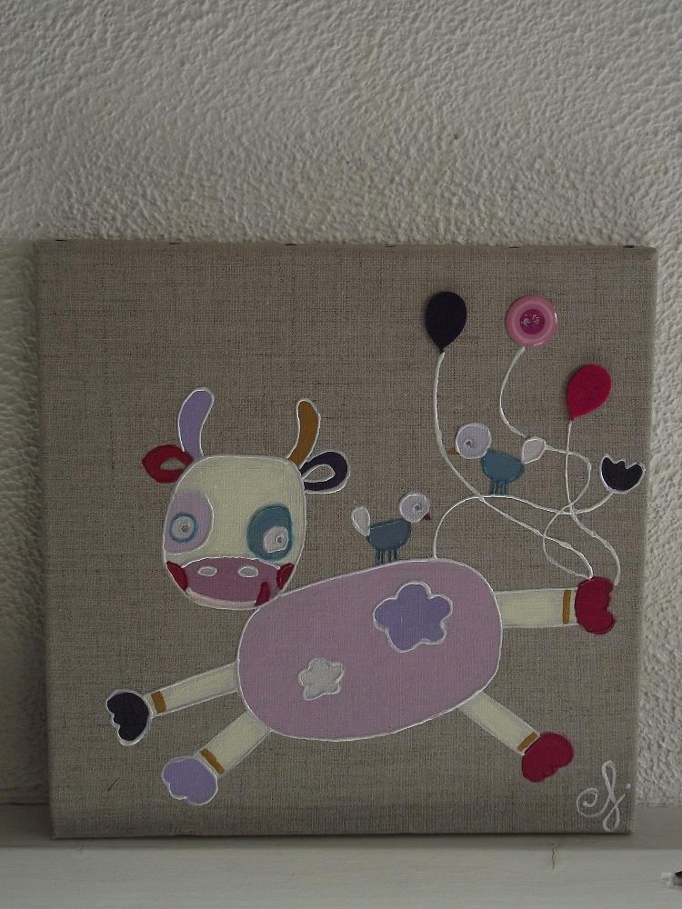 Toile acrylique pour enfants pur lin ma petite cow pine for Toile pour chambre enfant