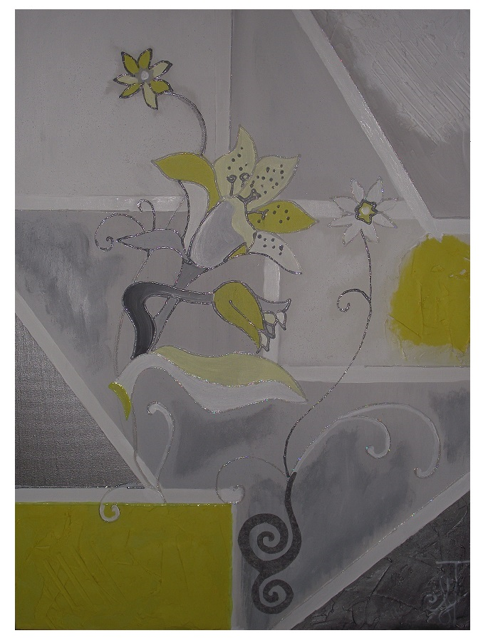 tableau contemporain abstrait gris et jaune avec fleurs iris. Black Bedroom Furniture Sets. Home Design Ideas